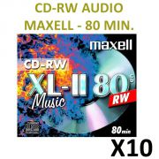CD-RW AUDIO. 80 min.10 CD-RW AUDIO de 80 minutes Ré-enregistrables Réservés aux graveurs de salon AUDIO Livrés en boitier Jewel Box