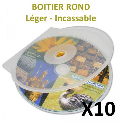 10 Boitiers CD ronds et transparents